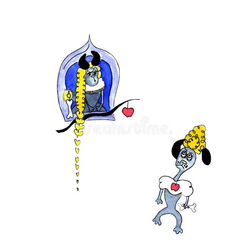 狗相似与卡通人物Rapunzel 皇族释放例证