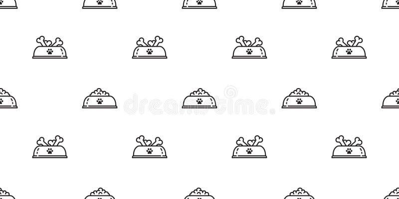 狗碗无缝的样式传染媒介爪子法国牛头犬狗食骨头动画片围巾被隔绝的重复墙纸瓦片背景 向量例证