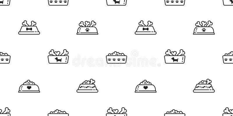狗碗无缝的样式传染媒介食物法国牛头犬骨头狗爪子动画片围巾被隔绝的瓦片背景重复墙纸 皇族释放例证