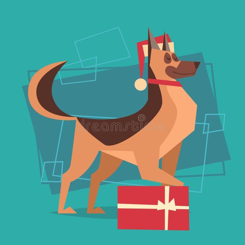 狗穿戴有礼物盒新年快乐2018年黄道带标志象的圣诞老人帽子 库存例证