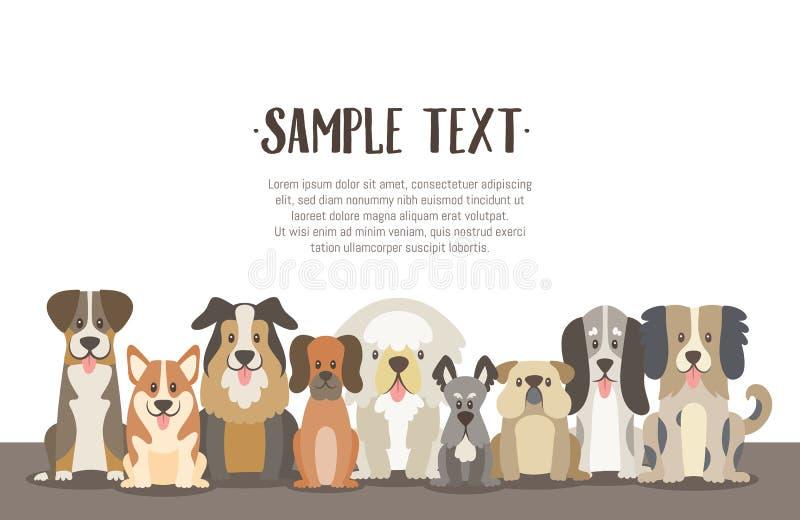 狗背景牧群与样品文本的 向量例证