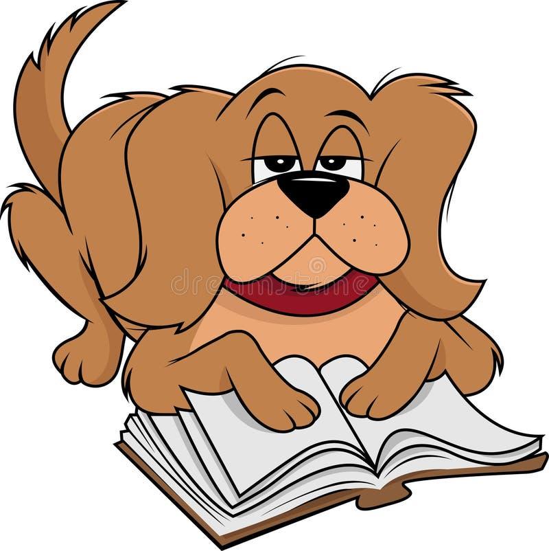 狗蓬松读书 向量例证