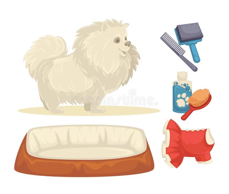 狗被设置狗的辅助部件 库存例证