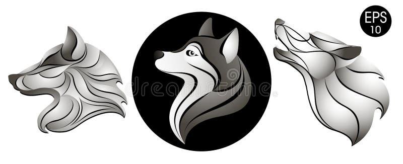 狗设置了 狗头商标 新年` s标志 设计例证股票您使用的向量 皇族释放例证
