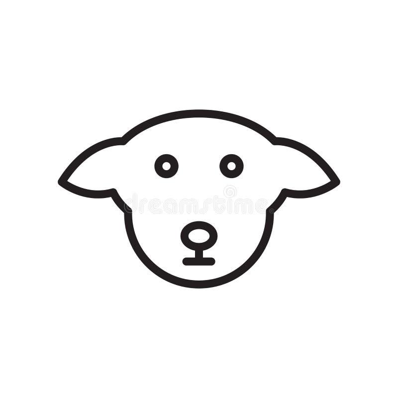 狗象在白色背景和标志隔绝的传染媒介标志,狗商标概念,概述标志,线性标志,概述标志, 向量例证