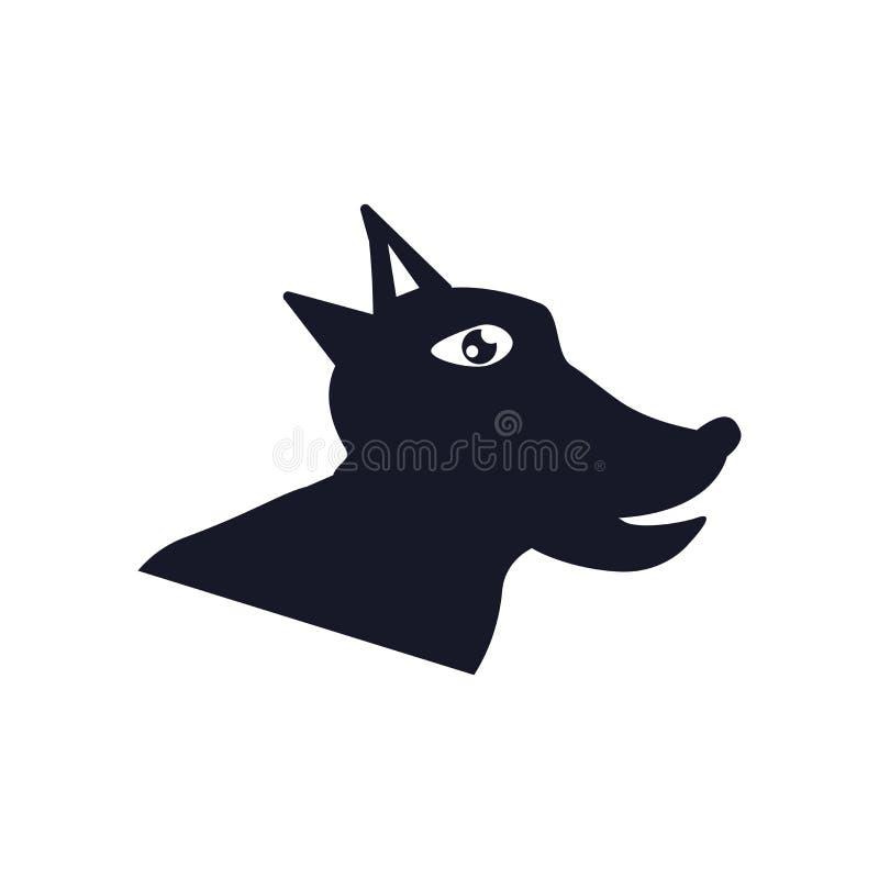 狗象在白色背景和标志隔绝的传染媒介标志,狗商标概念 皇族释放例证