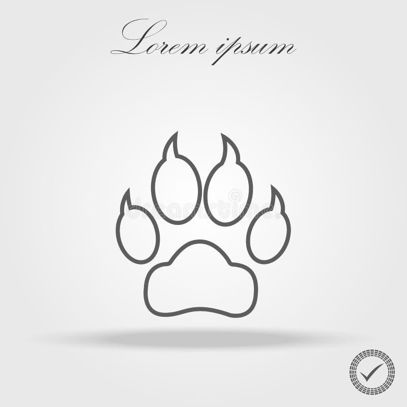 狗足迹线性象 稀薄的线设计 爪子打印 徽标 库存例证