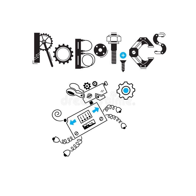 狗逗人喜爱的机器人和细节和齿轮的题字机器人学 也corel凹道例证向量 库存例证