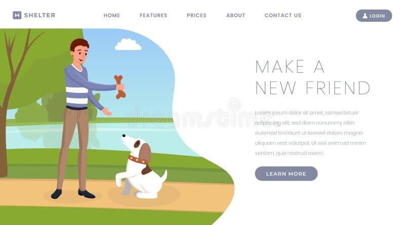 狗避难所传染媒介着陆页模板 宠物所有者,使用与逗人喜爱的小狗户外卡通人物的志愿者 库存例证