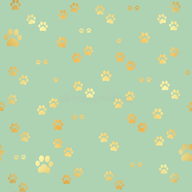 狗金爪子印刷品 动物金子脚印的无缝的样式 狗爪子印刷品无缝的样式 也corel凹道例证向量 向量例证