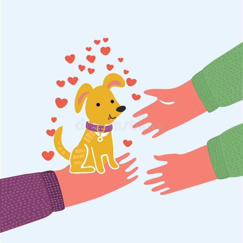 狗面孔 宠物收养 查寻对人的手,爪子印刷品拥抱的小狗狗 皇族释放例证