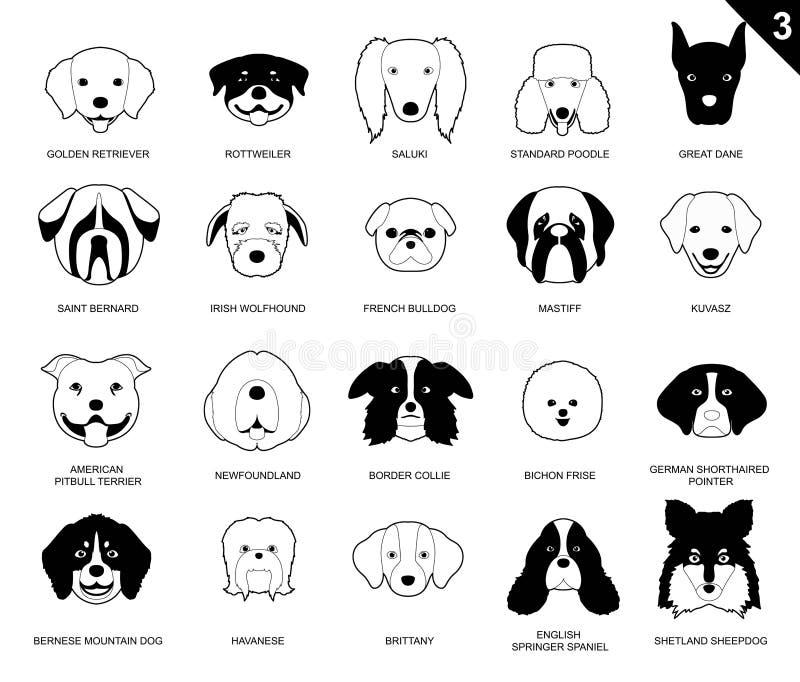 狗面对冲程单色象动画片3 库存例证