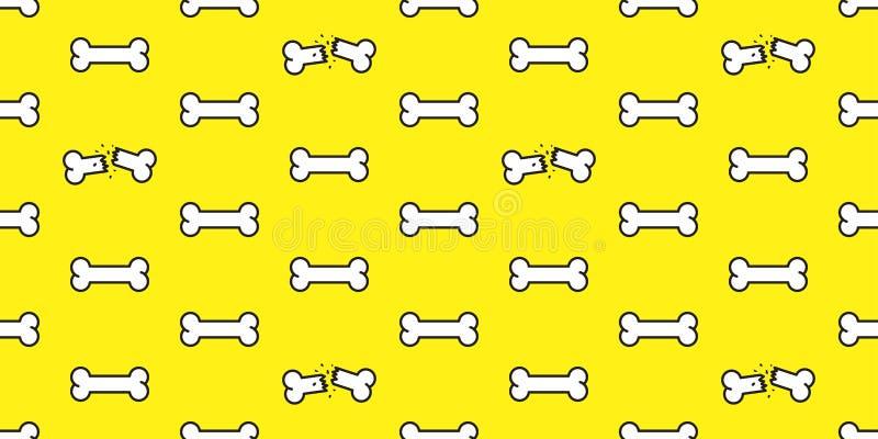 狗骨头无缝的传染媒介样式骨头围巾隔绝了墙纸背景黄色 皇族释放例证
