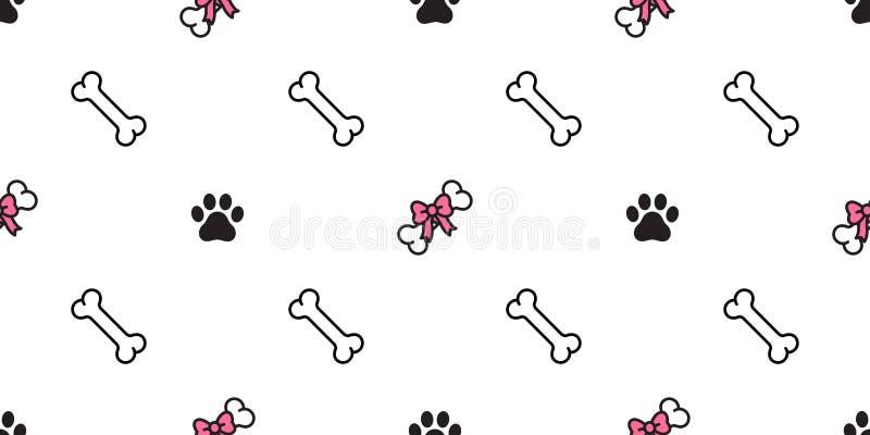 狗骨头无缝的样式传染媒介蝶形领结心脏华伦泰法国牛头犬围巾被隔绝的瓦片背景墙纸重复桃红色 皇族释放例证