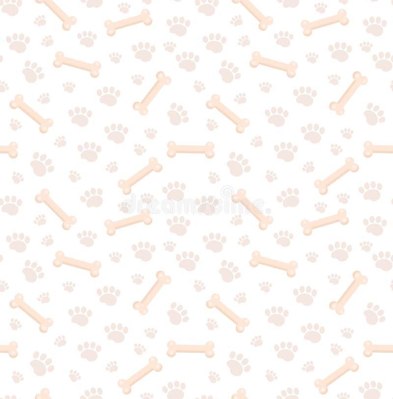 狗骨头无缝的样式 小狗爪子反复纹理骨头和踪影  小狗不尽的背景 向量 库存例证