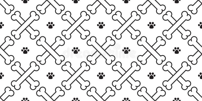 狗骨头爪子无缝的样式传染媒介两骨交叉图形贴墙纸被隔绝的背景白色 皇族释放例证