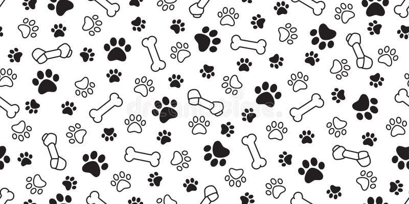 狗骨头爪子无缝的样式传染媒介宠物脚印法国牛头犬围巾被隔绝的动画片重复墙纸例证瓦片backgr 向量例证
