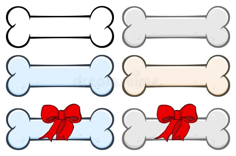 狗骨头动画片简单的图画设计设置了1 汇集 库存例证