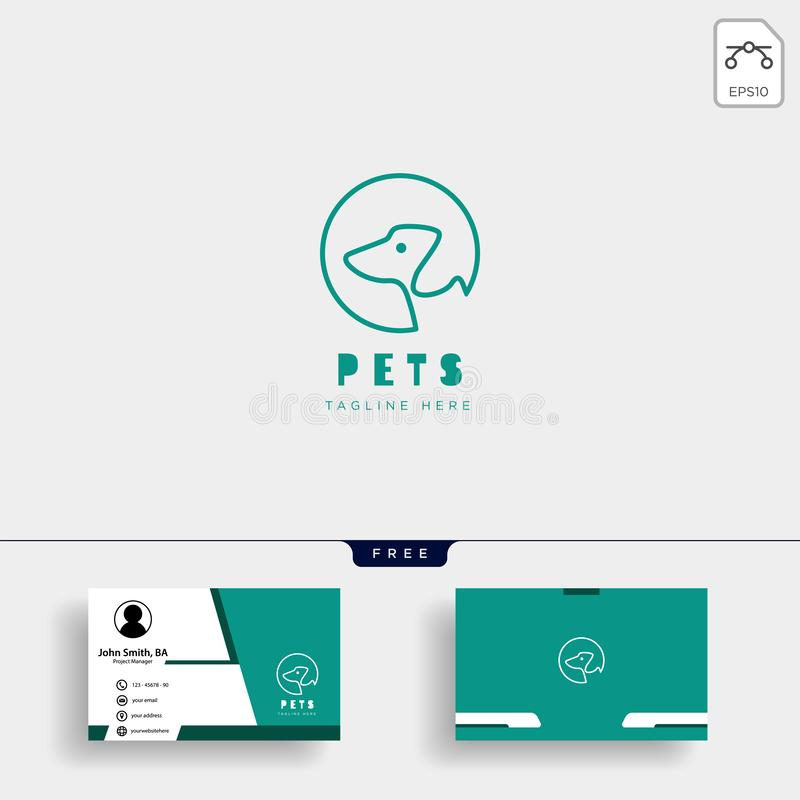 狗,与名片的猫宠物照管创造性的商标模板 皇族释放例证