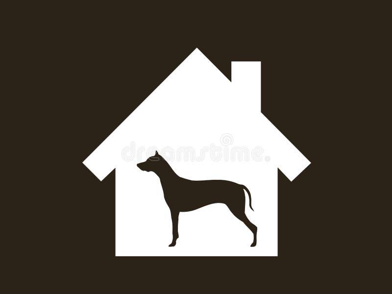 狗,动物居住在房子里面 向量例证