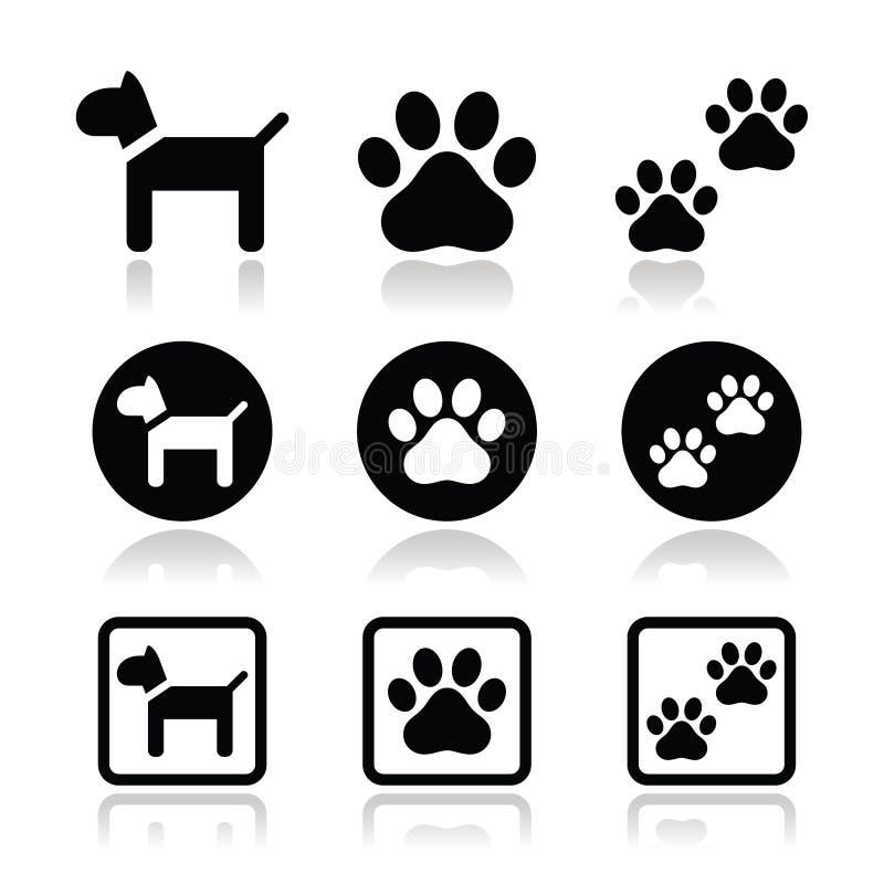 狗,爪子打印被设置的象 向量例证