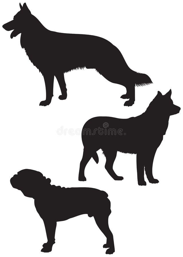 狗养殖传染媒介剪影2 库存例证