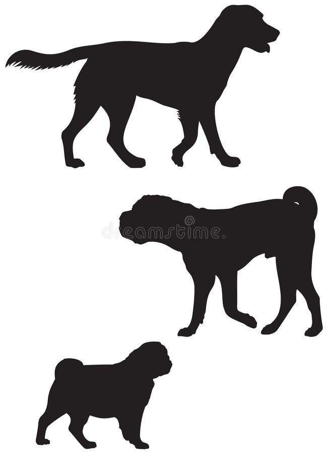 狗养殖传染媒介剪影3 向量例证
