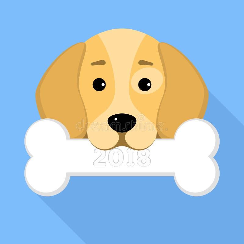 2018年狗 狗小猎犬在蓝色背景的嘴保留一根骨头 您的项目的一个地方 一个甜动物 加州 库存例证