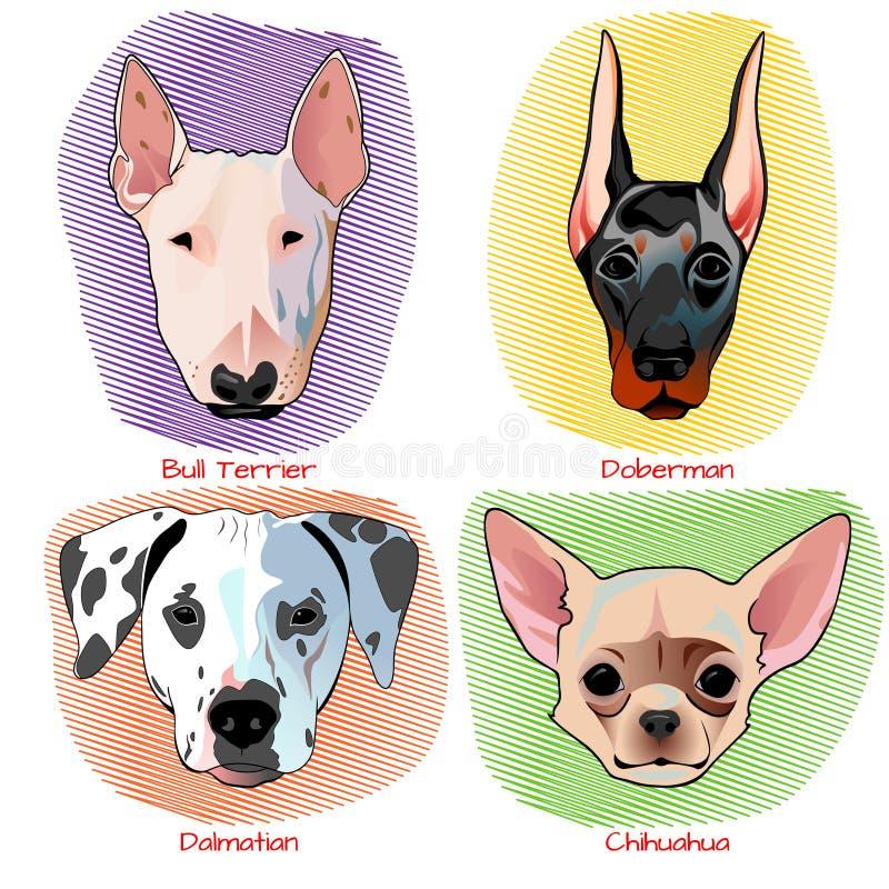 狗画象集合平的设计 皇族释放例证