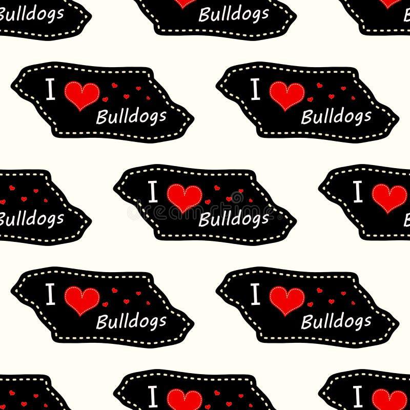 狗i爱在白色背景的牛头犬心脏华伦泰传染媒介无缝的样式墙纸 向量例证