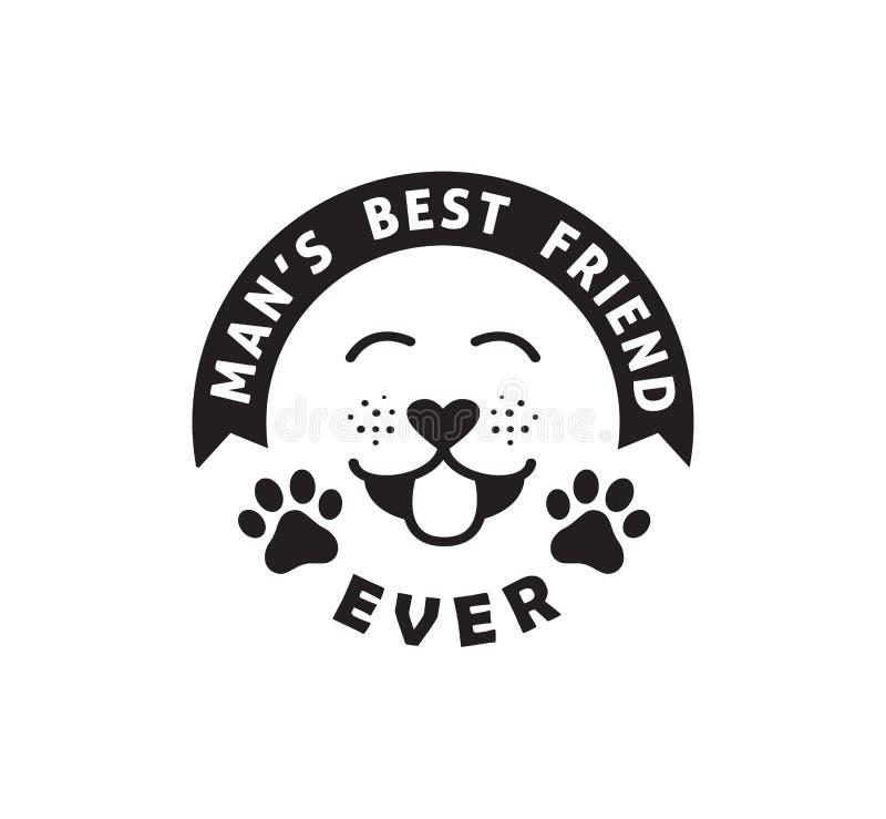 狗man' s最好的朋友滑稽的宠物行情海报印刷术传染媒介设计 库存例证
