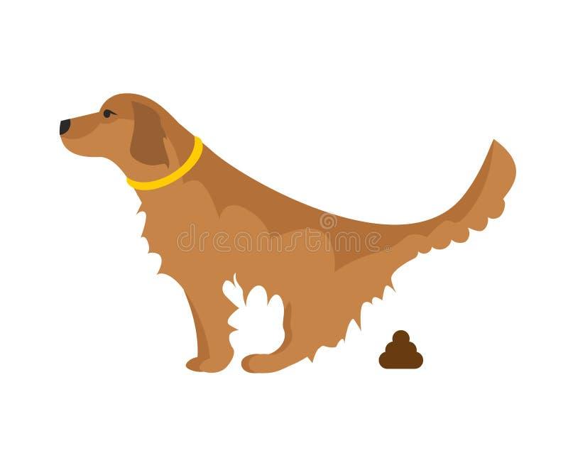 狗pooping的例证 免版税库存照片