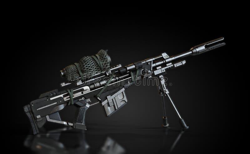 狙击步枪用双荚和在一个黑背景和反射性地板的被伪装的范围 向量例证