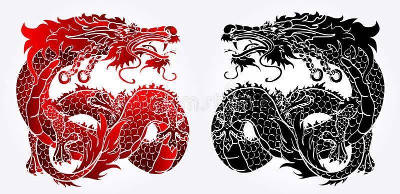 狡猾的亚洲龙黑和红色版本 库存例证