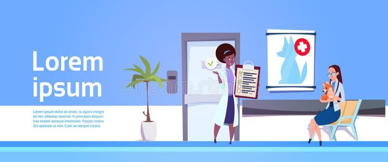 狩医诊所横幅篡改Examining Dog In Hospital办公室兽医概念 向量例证
