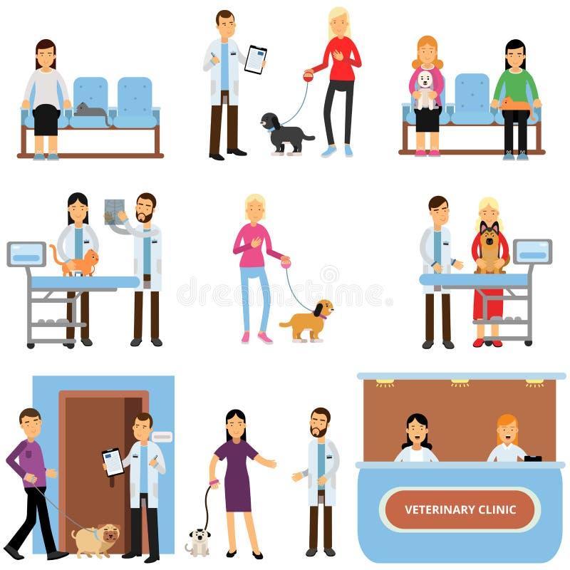 狩医诊所集合,审查狗和猫,与他们的宠物动画片传染媒介的人参观的狩医诊所的兽医医生 皇族释放例证