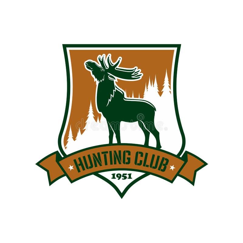 狩猎体育俱乐部传染媒介徽章或象征 库存例证