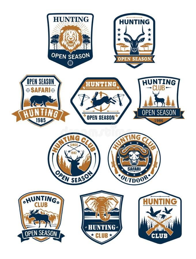 狩猎体育俱乐部和非洲徒步旅行队徽章集合 向量例证