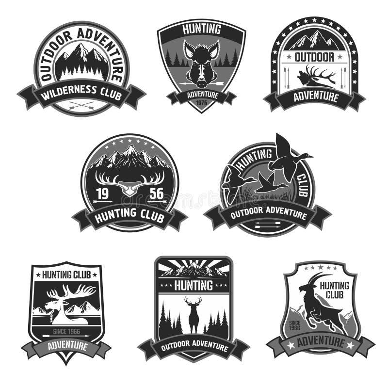 狩猎俱乐部冒险被设置的传染媒介象或徽章 向量例证