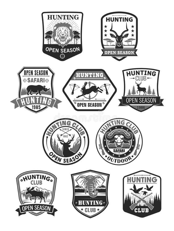 狩猎俱乐部或狩猎开放季节被设置的传染媒介象 库存例证