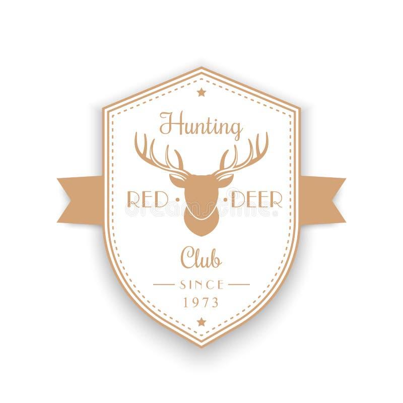 狩猎俱乐部葡萄酒象征,徽章,与鹿头的商标,盾在白色的形状商标 皇族释放例证
