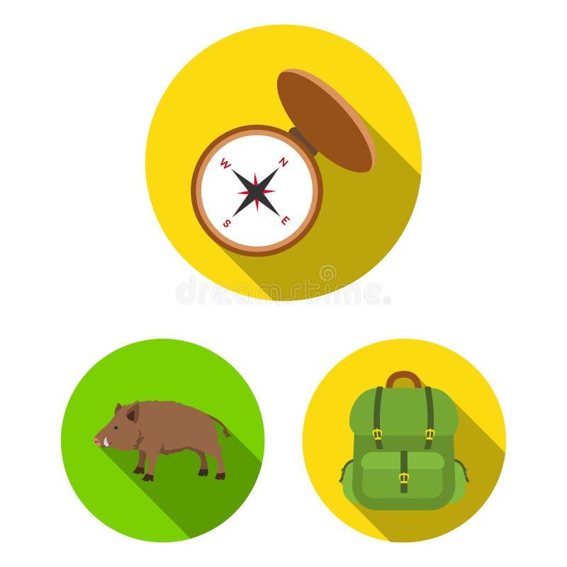 狩猎和战利品平的象在集合汇集的设计 狩猎和设备导航标志储蓄网例证 皇族释放例证