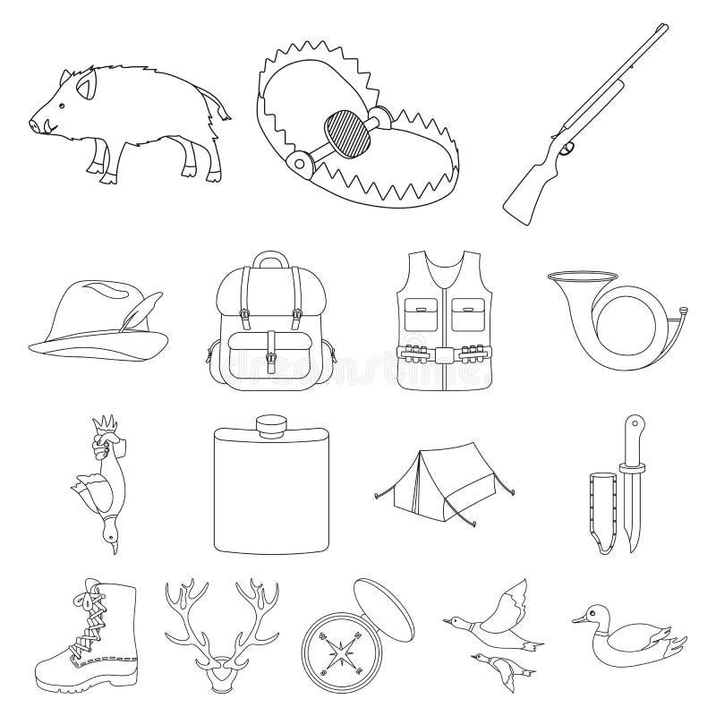 狩猎和战利品概述在集合汇集的象的设计 狩猎和设备传染媒介标志股票网 向量例证
