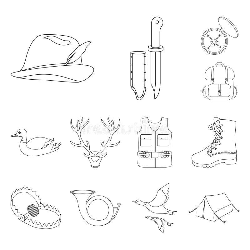狩猎和战利品概述在集合汇集的象的设计 狩猎和设备传染媒介标志股票网 皇族释放例证