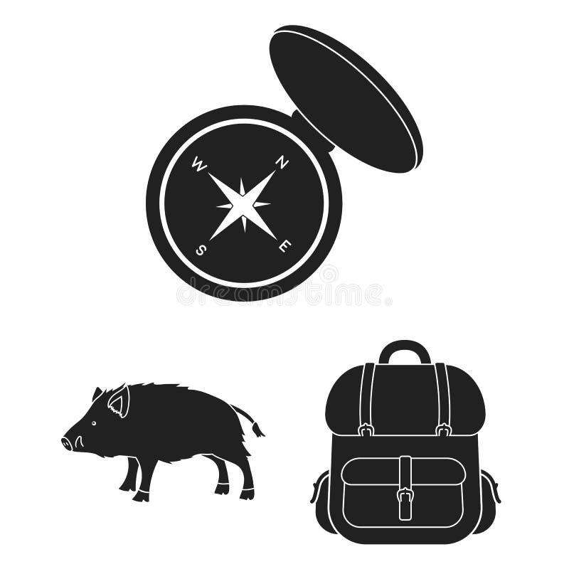 狩猎和战利品黑象在集合汇集的设计 狩猎和设备导航标志储蓄网例证 皇族释放例证
