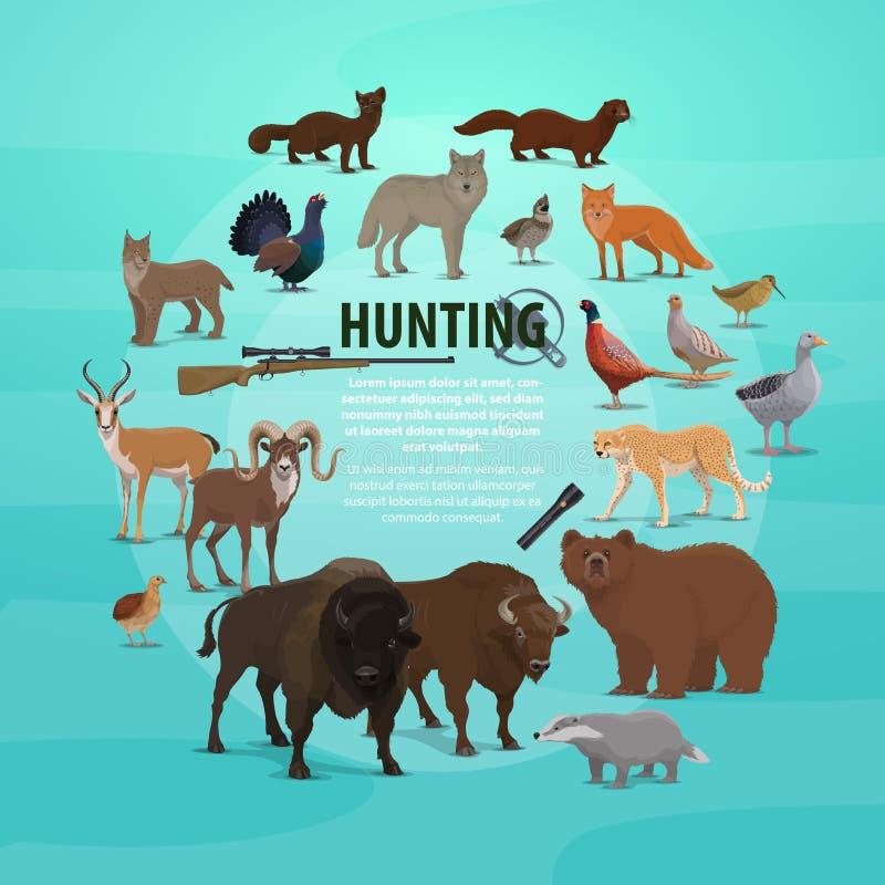 狩猎牺牲者和枪海报与动物和步枪 皇族释放例证