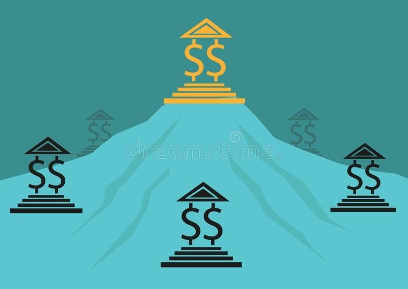 独占、竞争或者银行业务概念 编辑可能的剪贴美术 皇族释放例证
