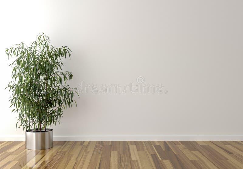 独奏内部植物和死墙在背景中 库存照片