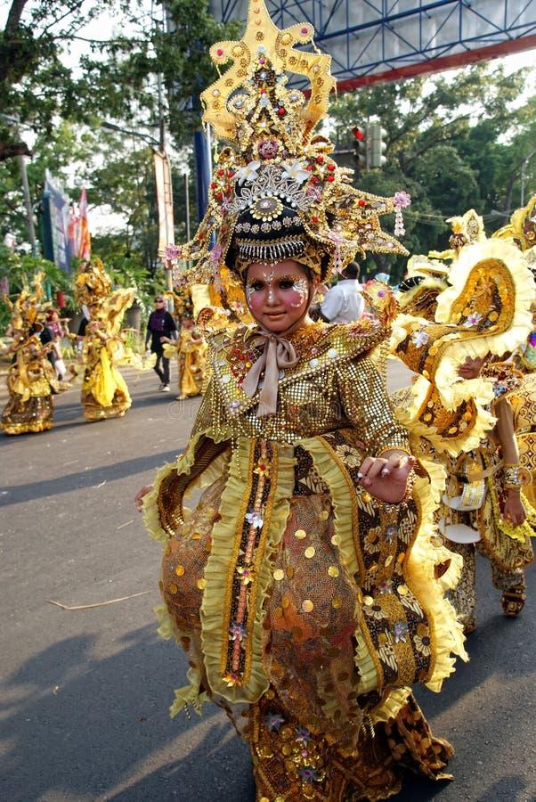 独奏蜡染布狂欢节,印度尼西亚 库存照片