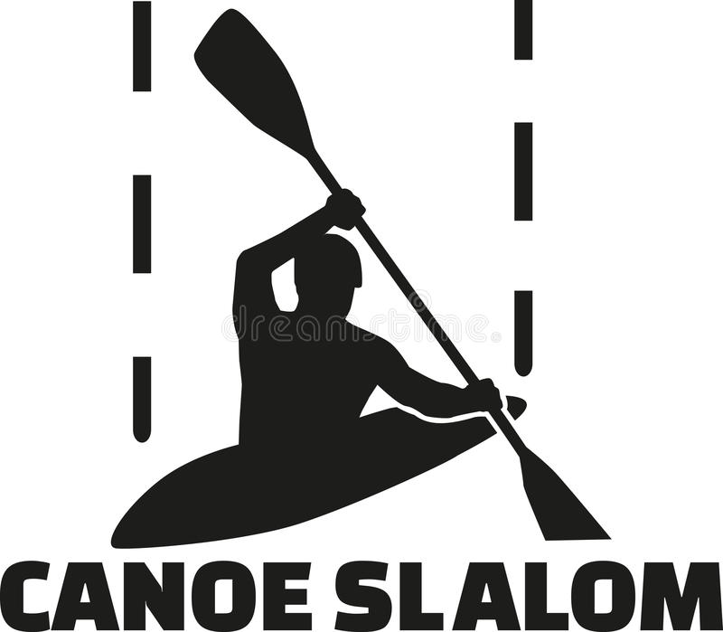 独木舟与词的障碍滑雪剪影 库存例证